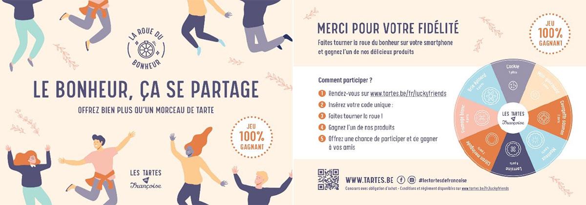 Flyer distribué pendant la campagne Lucky Friends réalisée pour Les Tartes de Françoise.